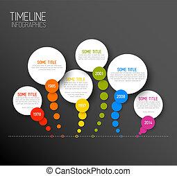 timeline, mörk, infographic, mall, rapport, horisontal
