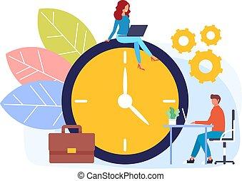 Timeline management concept. Vector flat graphic design cartoon illustration