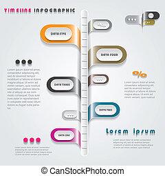 timeline, nymodig, illustration, vektor, infographics, design.