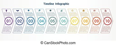 Timeline or area chart Template infographics 10 position.