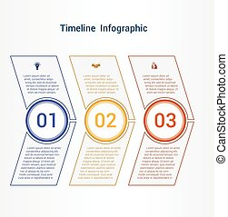 Timeline or area chart Template infographics 3 position. -...
