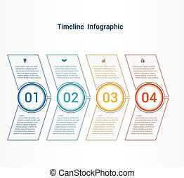 Timeline or area chart Template infographics 4 position.