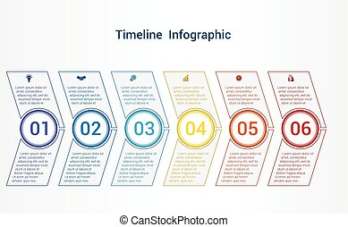 Timeline or area chart Template infographics 6 position.