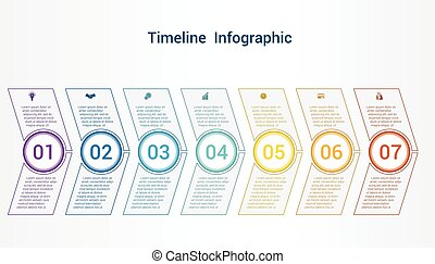 Timeline or area chart Template infographics 7 position.