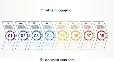 Timeline or area chart Template infographics 8 position.