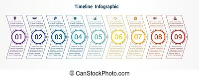 Timeline or area chart Template infographics 9 position.