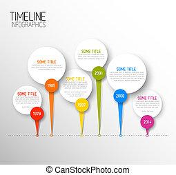 timeline, oscuridad, infographic, plantilla, informe, horizontal