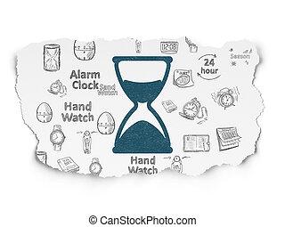 timeline, papier déchiré, fond, concept:, sablier