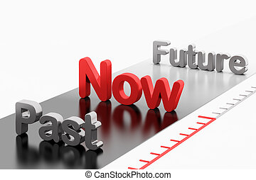 timeline, past-now-future, parola, concept:, 3d