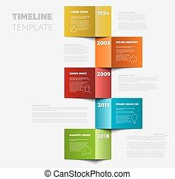 timeline, pionowy, szablon