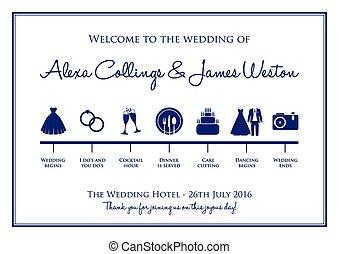 timeline, plano de fondo, boda
