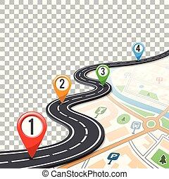 timeline, ponteiros, estrada, alfinete, infographics