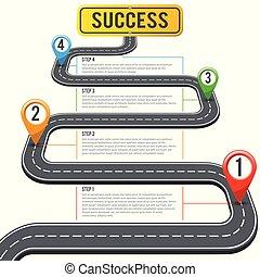 timeline, puntatori, strada, perno, infographics