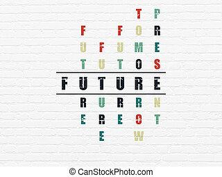 timeline, puzzle, futuro, concept:, cruciverba