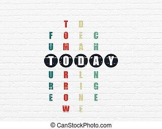 timeline, puzzle, oggi, concept:, cruciverba
