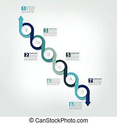 timeline, relazione, grafico, infographic, vector., scheme., sagoma