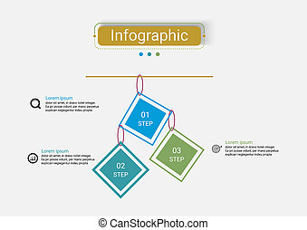 timeline, sagoma, vettore, infographics, disegno, 3, options.