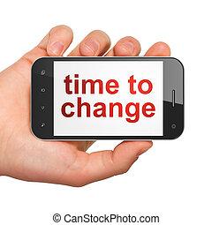 timeline, smartphone, cambiamento, concept:, tempo