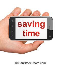 timeline, smartphone, risparmio, concept:, tempo