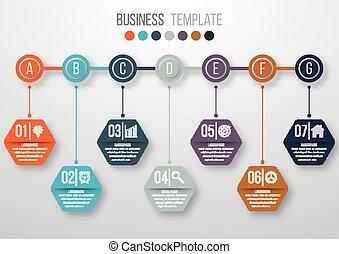 timeline, szablon, infographics