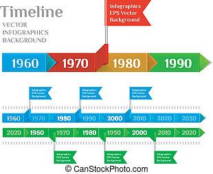 timeline, tela, plantilla, elemento