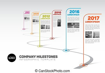timeline, towarzystwo, infographic, szablon, kamienie milowe