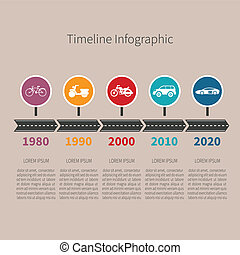 Timeline vector infographic with transport icons and text in retro style
