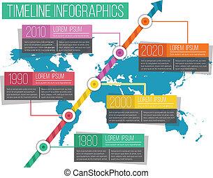 timeline, wektor, infographics, 05