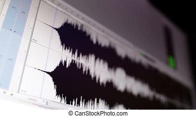 Timeline window with black sound waveform in the film...