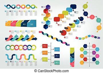 timeline, wykres, komplet, vector., infographic, cielna, ...
