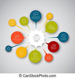 timeline, zameldować, szablon, infographic, barwny, bańki