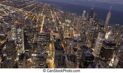 Timelipse of Chicago skyline by night, illinois, united...