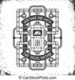 Fantastic time machine in the steampunk doodle style with grungy background. Black and white vector layered illustration.