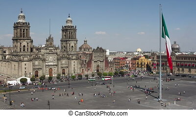 timen-afloop, reus, zocalo, stad, centrum, mexico vlag,...