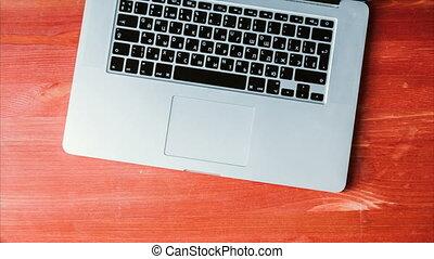 timen-afloop, stop beweging, de punten van het bureau, verhuizen, op, de, desktop