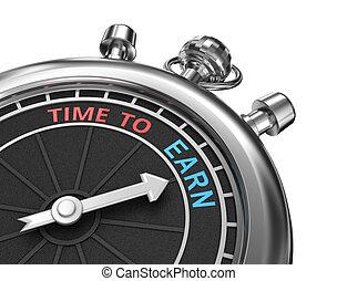 timepiece, concetto, guadagnare, isolato, tempo, 3d