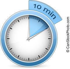 Timer - 10 minutes - Blue timer. 10 minutes. Vector...