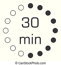 Timer 30 min vector - Electronic timer 30 min isolated on...