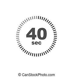 Timer 40 sec icon. Simple design
