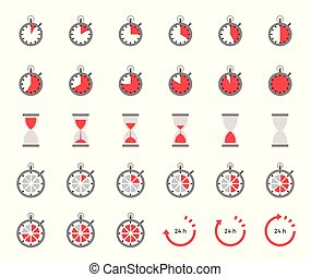 Timer and sand clock icon for use as cooking instruction flat design