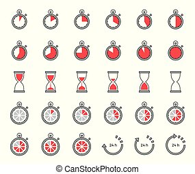 Timer and sand clock icon for use as cooking instruction, outline editable stroke