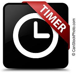 Timer black square button red ribbon in corner