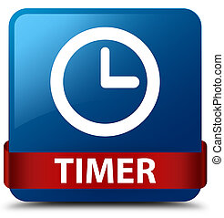 Timer blue square button red ribbon in middle