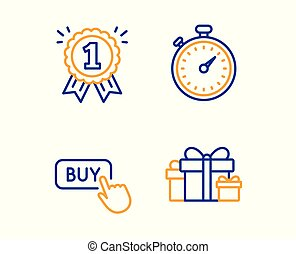 Timer, Buy button and Reward icons set. Holiday presents ...