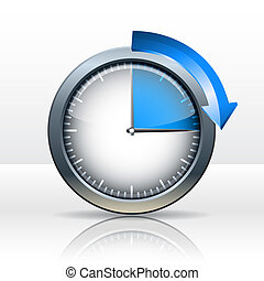 Timer clock , 15  minutes. vector illustration