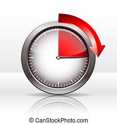 Timer clock , 15 minutes. vector illustration