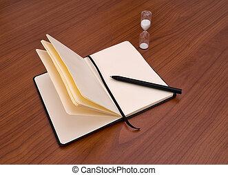 timer., concept., uzávěrka, pero, písaře, diář, diář, balvan