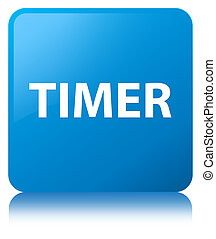 Timer cyan blue square button