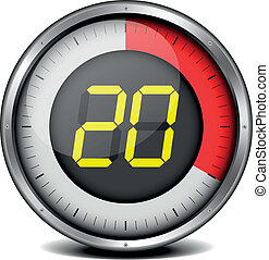 timer digital 20 - illustration of a metal framed timer with...