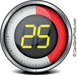 timer digital 25 - illustration of a metal framed timer with...